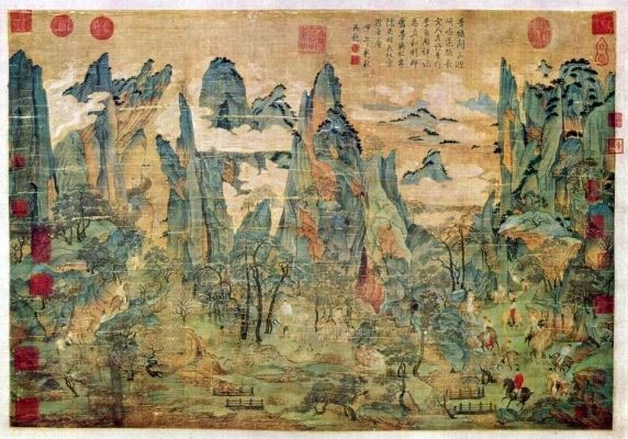 Ли Чжаодао. Путники в горах. Конец 7 - начало 8 в.