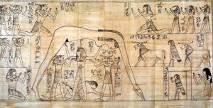 """Рис.1  """"Книга мертвых"""" Неситанебташеру (папирус Гринфилд, лист 87): сотворение неба и земли. Около 1025 г. до н.э. (21 династия, правление Псусеннеса I)"""
