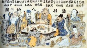 Рис. 1 Восемь бессмертных пьют вино. Конец 19 - начало 20 в.